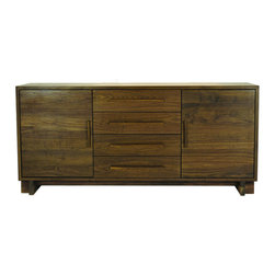 Vermont Furniture Designs - Skyline Sideboard, Walnut - The Skyline Collection features Danish Modern-inspired design blended with Vermont craftsmanship. The Skyline sideboard beautifully incorporates solid black cherry construction with black walnut detailing. The Skyline Collection is bench-crafted by Vermont artisans using timeless techniques, such as mortise and tenon joinery, English dovetail drawer construction, and hand sanding. Each piece of wood is carefully matched for color and grain, and can be rejected by any of the craftsmen at any time in the process. The wood is finished with a natural oil and wax blend, which protects the piece while bring out the color, grain, and depth of the wood and allowing it to age beautifully. Unlike many chemical sealants, this eco-friendly, natural finish does not produce any VOCs.