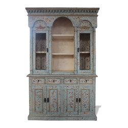 Koenig Collection - Old World Tuscan Hutch Colonial, Turquoise Distressed - Old World Tuscan Hutch Colonial