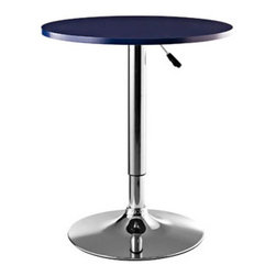 "LexMod - Portal Bar Table in Blue Wood - Portal Bar Table in Blue Wood - Turn up the energy and watch as the sophisticated sizzle of the Portal Adjustable Bar Table opens communication gateways. With discernment for gravitational needs, this polished aluminum retro modern piece declares every fete an entertainment success. Complete with a 360 degree swivel, single out all those around for the gift of pleasant conversation. Set Includes: One - Portal Adjustable Bar Table Acrylic Top, Height Adjustable Hydraulic Lift, Polished Chrome Base, 360 Degree Swivel Overall Product Dimensions: 23.5""L x 23.5""W x 27.5 - 36.5""H Table Top Height: 27.5 - 36.5""H - Mid Century Modern Furniture."