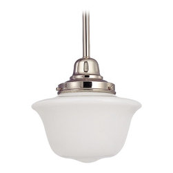 Design Classics Lighting - 8-Inch Retro Style Mini-Pendant Light with Schoolhouse Glass - FB4-15 / GD8 - Polished nickel finish mini-pendant light with Bridlemile schoolhouse opal white glass. Includes three 12-inch and one six-inch stem segments to allow for flexibility in height adjustment from a minimum of 17-inches to a maximum height of 52-1/2-inches. Takes (1) 150-watt incandescent A21 bulb(s). Bulb(s) sold separately. UL listed. Dry location rated.
