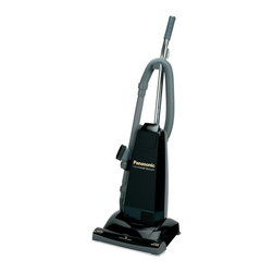 Panasonic - Panasonic MC-V5210 Commercial Upright Vacuum Cleaner with Tools On-Board, Black - The Panasonic MCV5210 Commercial Upright Vacuum, with 10 amps of power, possesses a host of high performance features including a 14-inch Tri-Force metal agitator with replaceable brushes, dual-side active-edge cleaning and enhanced filtration. The Motor Protection System channels dust and dirt particles directly into the vacuum bag, which helps protect the fan and motor. Panasonic has efficiently designed this vacuum cleaner with a hard outer shell case and a chrome handle with vinyl grip for outstanding durability. Plus, it provides powerful and convenient floor care solutions for facilities with a lot of foot traffic like restaurants, hotels, resorts, gyms, and offices.Commercial upright vacuum with 10-amp capped commercial motor|14-inch cleaning path with dual-side active-edge cleaning and automatic height adjustment|Tri-Force metal agitator with replaceable brushes|QuickDraw on-board tools including strectch hose, extension wand, crevice tool and dusting brush|50-foot commercial cord with cord hook|Micron filtration system with HEPA filter|Motor protection system|Bypass valve prevents motor damage|Clean-out port provides easy access to clean away debris|Durable metal base plate with belt guard and latch for tool-less belt change|  panasonic| mcv5210| mc-v5210| 10 amp commercial upright vacuum| 10 amp vacuum| commercial vacuum| upright vacuum| 10 amp| commercial| upright| vacuum  Package Contents: upright vacuum|crevice tool|dusting brush|wand|hose|manual|warranty  This item cannot be shipped to APO/FPO addresses