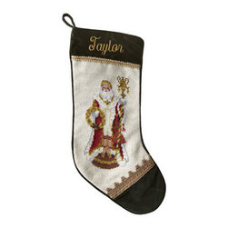 "Horchow - Venetian Santa Needlepoint Stocking, Monogrammed - Exclusively ours. Hand-stitched needlepoint stockings feature some of our favorite Santas and your monogram. Pure wool with rayon trim. 11""W x 18""L. Personalization is name (up to seven characters/spaces) in style and color shown. Dry clean. Im..."