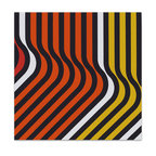"""Graphilia - """"""""Ripples"""" 1973 Original Vintage Serigraph -Orange - Original 1973 serigraph hand silkscreened on 100% cotton canvas in the 1970s.  Gallery wrap framed and ready to hang.  Add some retro vintage flair to your home!  Goes great with mid-century modern and more."""