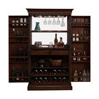 American Heritage - American Heritage Angelina Bar in Navajo - Function and beauty align perfectly in this magnificent server, finished in a rich Navajo with charcoal bronze accent hardware. Stemware holders line the top of the interior while dual pull-out wine racks grace the bottom of the piece. A black glass work area allows for plenty of room for preparation, mixing, or whatever suits your fancy. The electrical outlet empowers you with blenders, mixers and the like with two sturdy storage drawers at your disposal. Majestic piano hinges give the swinging cabinet doors life-long strength and a smooth feel that conquers the test of time. To top it off both literally and figuratively, multiple lights rest above the stemware holders with a touch-switch.