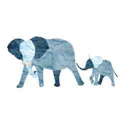 My Wonderful Walls - Elephant and Baby Wall Sticker - Decal Set, Left-Facing - 2 elephant wall stickers