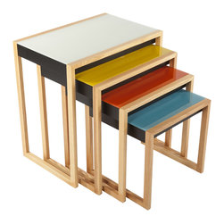 Control Brand - The Bayer Nesting Table Set - The Bayer Nesting Table Set consists of four tables that are made from wood with multi color glass tops.