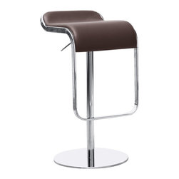 "Lemoderno - Fine Mod Imports  Lem Bar Stool Chair, Brown - The Lem Bar Stool Chair is a swivel chair the bottom base is polished steel and the frame is chrome. Chair is height adjustable. Height Adjustment from 21"" - 31"" Leathe Seat   Assembly Required"