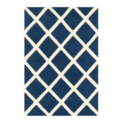Safavieh - Courtney Hand Tufted Rug, Dark Blue / Ivory 2' X 3' - Construction Method: Hand Tufted. Country of Origin: India. Care Instructions: Vacuum Regularly To Prevent Dust And Crumbs From Settling Into The Roots Of The Fibers. Avoid Direct And Continuous Exposure To Sunlight. Use Rug Protectors Under The Legs Of Heavy Furniture To Avoid Flattening Piles. Do Not Pull Loose Ends; Clip Them With Scissors To Remove. Turn Carpet Occasionally To Equalize Wear. Remove Spills Immediately. A timeless quatrefoil motif makes a global design statement in the subtle but sophisticated Desai area rug. These stunning hand-tufted wool rugs are crafted in India to recreate the elegant look of hand-knotted carpets for today's lifestyle interiors.