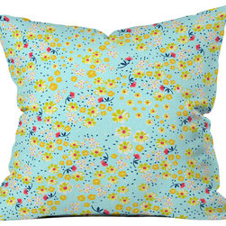 DENY Designs - Joy Laforme Wild Floral Ditsy In Pale Blue Outdoor Throw Pillow - Do you hear that noise? it's your outdoor area begging for a facelift and what better way to turn up the chic than with our outdoor throw pillow collection? Made from water and mildew proof woven polyester, our indoor/outdoor throw pillow is the perfect way to add some vibrance and character to your boring outdoor furniture while giving the rain a run for its money. Custom printed in the USA for every order.