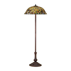 Meyda Tiffany - Meyda Tiffany Fishscale Tiffany Floor Lamp X-65403 - The delightful fish scale pattern is accentuated by a combination of hues including purple, green and amber on this elegant Meyda Tiffany floor lamp. From the Fishscale Collection, the Antique finish accentuates the traditional detailing of the base, adding to the charm and timeless appeal of this design.