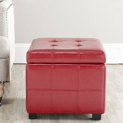 Safavieh - Safavieh Broadway Red Leather Tufted Storage Ottoman - Style meets functionality with this fashionable leather storage ottoman. Featuring a sturdy wooden frame and bicast leather upholstery, it promises comfort and durability. The ottoman's flip top lid offers easy access to your stored items.