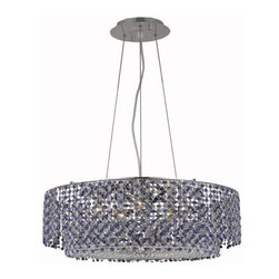 """PWG Lighting / Lighting By Pecaso - Warrane 5-Light 24"""" Crystal Chandelier 1104D24C-SA-RC - Shimmering and glamorous rows of crystals make these Crystal Chandeliers eye-catching designs. Each combination in the Warrane Collection is an exceptional work of art providing an enchanting centerpiece to any room."""