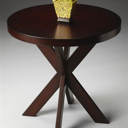 Butler - Loft 26 in. Accent Table - Round cherry veneer top. Hand crafted. Four legged double X-shaped base. Made from solid hardwood. Chocolate finish. 26 in. Dia. x 26 in. H (46 lbs.)This contemporary accent table is uniquely appointed. These contemporary styles represent a convergence of several of Butler's fashion-forward collections with an emphasis on today's casual lifestyle designs. Styles here are defined by clean, classic lines and sophisticated finishes with some occasionally exotic materials.