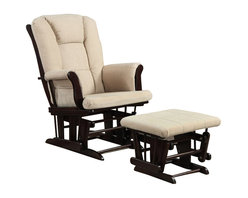 Coaster - Coaster Beige Microfiber Glider with Matching Ottoman - Coaster - Gliders & Rockers - 650011 -