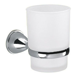 Gedy - Wall Mounted Frosted Glass Toothbrush Holder With Chrome Mounting - Wall mounted satin glass toothbrush holder or tumbler made in brass with polished chrome finish.