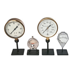 Salvatecture Studio - Set Of Four Vintage Industrial Gauges On Stands - Four gauges, each one dedicated to a past life of precision, have been brought together in this one-of-a-kind set. This foursome of industrial gauges is mounted on reclaimed iron stands and can be proudly displayed in your office, study, room or den.
