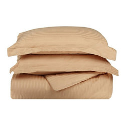Impressions - Impressions 300 Thread Count Egyptian Cotton Sateen Weave Stripe Duvet Cover 3 P - Shop for Duvets from Hayneedle.com! Awake refreshed and well-rested after a perfect night's sleep in the Impressions 300 Thread Count Egyptian Cotton Sateen Weave Stripe Duvet Cover 3 Piece Set. This duvet cover set is made of 300-thread count premium long-staple cotton woven to a lustrous sheen that resembles satin. They feature a hotel stripe pattern that comes in a wide variety of color options. The set comes in several bed sizes. Each set includes a duvet cover with clear buttons and two pillow shams (one with Twin size). Dimensions:Twin duvet cover: 86L x 68W in.Twin pillow sham: 20L x 26W in.Full / Queen duvet cover: 92L x 90W in.Full / Queen pillow sham: 20L x 26W in. eachKing / California King duvet cover: 106L x 92W in.King / California King pillow sham: 20L x 36W in. eachAbout Home City Inc.Established in the 1980s in Queens New York selling towels and lower-thread-count sheets Home City Inc. started in small office and has developed into a worldwide manufacturing and importing company based out of Brooklyn NY. They were able to establish the name Home City Inc. in 2003 which set the tone for the growth in a company that boasts over 25 years of experience in production. Over the years Home City has developed and perfected unparalleled quality products that now serve domestic and international retail stores. Today Home City's fulfillment center is located in Linden NJ with a showroom on Fifth Avenue in New York NY allowing them to provide their customers with an expanded selection of sheet sets duvet cover sets bed skirts pillowcase sets bed-in-bag sets down comforters mattress toppers pillows quilts robes towel sets and more.