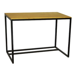 "Convenience Concepts - Dakota Desk - The Dakota Collection Desk features a solid wood table top and powdercoated metal frame combining beautifully grained pine with a solid black metal frame to create a clean contemporary feel that fits perfectly in any decor.; Solid pine wood with a distinctive wood grain, Polyurethane coating for durability and easy cleaning, Sturdy black steel powdercoated frame, Contemporary styling, Easy assembly, Dakota Desk, End Table and Console Table available separately; The Dakota Collection wood and steel Desk is perfect for any home office or den, Solid wood with distinctive pine wood grain, Solid black steel powdercoated frame; Will provide years of enjoyment; No Lead content.; Country of Origin: China; Weight: 35 lbs; Dimensions: 30""H x 41.75""W x 23.875""D"