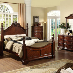 Furniture of America - Furniture of America Luxi Kenji Formal 4-Piece Poster Bedroom Set - An elegant and understated design defines this bedroom collection. Ornate bed knobs decorate the solid wood headboard while the matching case goods continue the theme of regality.