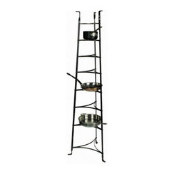 Enclume - 8-Tier Tapered Cookware Tower with Hammered Steel Frame - * Our most popular free-standing rack. Display your finest cookware or plants on this graceful stand. It can also be used in the sunroom or anywhere about the home to show off prize winning plants, cherished family photos, or favorite knick knacks. 19.5 in. W x 16.5 in. D x 68 in. H