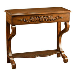 AA Importing - Lamp Sideboard w Carved Floral Highlights & H - Vine design on shelf. 1 Drawer. Assembly required. Drawer:  31 in. L x 10 in. W x 3.5 in. H. Shelf: 29 in. L x 10 in. W. Overall: 35 in. L x 14 in. W x 32 in. H (38 lbs.)