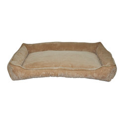 Loom and Mill - Loom and Mill DB0013 Tan Corduroy Walled Pet Bed - Help your pet get extra cozy in this over-stuffed large walled dog bed. Made with the highest of quality fabric, this pet bed is velvety soft and over-stuffed for extra comfort. Your large pet will love this fabulous animal bed. Spot clean only.