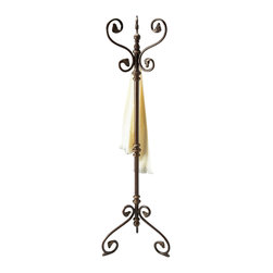 Butler Specialty - Butler Costumer - Copper grey finished metal with antique brass finished accents. Features elegant post tuning with carved flourishes on the hangers and on the base to provide stylish Victorian flair.