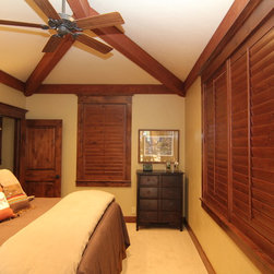 Old Baldy Club residence Knotty Alder stained shutters - colorado shade and shutter