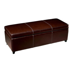 Wholesale Interiors - Baxton Studio Leather Ottoman with Storage in Dark Brown - This storage ottoman is a versatile piece useful in any room of your home. This elegant ottoman provides styles and room to keep items out of sight yet close at hand to meet both your decorative and storage needs. Interior frame built to last with sturdy construction consisting of kiln dried hardwood, with high density foam padding and hinged lid for easy opening and closing. Durable polyurethane coated leather upholstery for longer lasting use and stain resists for easy clean up. Leg constructed with solid rubber wood with veneer finish completes with elegant smooth, clean lines design. The perfect combination of quality craftsmanship with simple and sophisticated designs, that will instantly enhance any room decor.