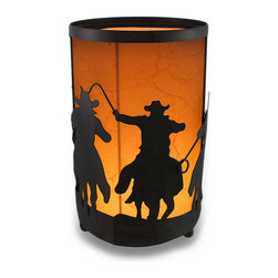 Western Riding Cowboy Silhouettes Cylindrical Accent Lamp w/Leather Look Shade - These riders of the West will keep your room aglow in a golden light long after the sun sets and the dust settles. This light features silhouettes of cowboys saddled up roping and riding against the sunset backdrop of the leather look shade insert. Crafted from metal, it boasts a rustic brown finish sure to complement your western or lodge themed home. It stands 8 inches high and is 4.5 inches in diameter (20x11 cm), uses one night light style bulb (included), and has an in-line thumb-wheel switch on the 55 inch long cord to easily turn it on or off. It`s the finishing touch to western themed rooms, great for the guest bedroom or to softly light the entryway, and makes a wonderful gift any cowboy fan is sure to admire!