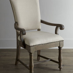 Horchow - Two Waycroft Armchairs - Dining takes on country charm and rustic simplicity with this comfortable armchair. Design touches such as distressing, hand-hammered nailhead trim, and delicate turnings add style to comfort. Made of hackberry solids and veneers. Hand painted. Weath...