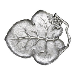 Arthur Court - Grape Leaf 16-Inch Platter - Your tartlets are warm and baked to perfection so you only have a short window to serve them to your guests. Luckily this striking grape leaf tray has an elegant yet practical handle to make passing appetizers a breeze.