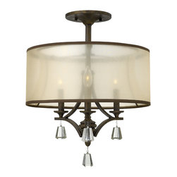 Fredrick Ramond - Fredrick Ramond Mime 3-Light Semi Foyer - This elegant collection in our French Bronze features a sheer translucent double hardback shade and tapered square crystal accents.