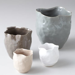 "Horchow - Three ""Kasper"" Vases - We love the handmade look of these stunning vases. Hammered detail gives way to a curved opening, creating a distinctive presentation for your florals. Set of three includes one of each size. We show two small vases here to showcase color options. Pain..."