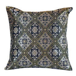 "Banarsi Designs - Hand Embroidered Brocade Pillow Cover, Set of 2, Silver and Gold, 16"" X 16"" - Beautiful accent pillow cover set features sparkling, hand embroidered stone work and a sophisticated brocade design. This stunning pillow cover set is the perfect addition to your living room, den or sitting area. Its 16x16 size allows it to fit almost any standard sized throw pillow, and the hidden zipper in the back gives  you the ability to switch out the look and feel of your throw pillows easily. The stylish brocade design catches the lighting perfectly with hand-embroidered crystals and shimmers with metallic thread work.  You can change the aura of your home with the seasons, or whenever you feel like it. You''ll love how simple it is to instantly update the look in your home by just putting these chic, stylish pillow covers on your existing throw pillows. Perfect for sofas, chairs, futons, chaise lounges, beds and more. Made in India."