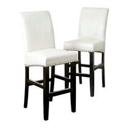 Great Deal Furniture - Clifton Brown Leather Bar Stool (Set of 2), Ivory - The Clifton leather bar stool is great for your kitchen, bar or dining space. It is upholstered in beautiful, soft brown bonded leather, featuring a curved backrest and its seat is embellished with bronze studded accents and a dark metal kick-plate. You will enjoy the look and feel of this stool.