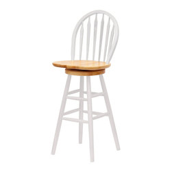 Winsome - Windsor Swivel Stool - 30 in.  - Natural & White - Display your classic sense of style with the traditional 30 Inch Windsor Bar Stool. This chair features a swivel seat and contoured back for maximum comfort