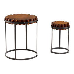 Cyan Design - Cyan Design 04912 Gear Table - Pack of 2 - Cyan Design 04912 Gear Table - Pack of 2