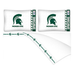 Sports Coverage - NCAA Michigan State Spartans Football Queen Bed Sheet Set - Features: