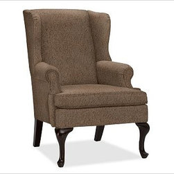 "Gramercy Upholstered Wingback Armchair, Everydayvelvet Mocha - A design standout, this armchair has sloping wings, double-scroll arms and cabriole legs that define it as a Queen Anne Wingback. 29.5"" wide x 34"" deep x 42"" high Corner blocked frame for structural integrity. Tight back is thickly padded for extraordinary comfort. Heavy gauge sinuous springs support a T-shaped seat cushion with a solid foam core that's wrapped in plush padding. Espresso-stained hardwood legs. This item can also be customized with your choice of over {{link path='pages/popups/fab_leather_popup.html' class='popup' width='720' height='800'}}80 custom fabrics and colors{{/link}}. For details and pricing on custom fabrics, please call us at 1.800.840.3658 or click Live Help. View and compare with other collections at {{link path='pages/popups/furniture_DOC.html' class='popup' width='720' height='800'}}Upholstery Furniture Facts{{/link}}. Watch a video about the high quality of our {{link path='/stylehouse/videos/videos/pbq_v22_rel.html?cm_sp=Video_PIP-_-PBQUALITY-_-OUR_UPHOLSTERY' class='popup' width='950' height='300'}}upholstered furniture{{/link}}. Made in USA."