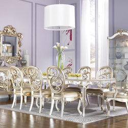 American Drew Inc - Antique Mirror Leg Dining Table - Silver Leaf -