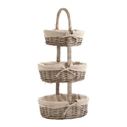 Three-Tiered Lined Basket Tower - I saw this in a show home once — a three tier basket tower on the bathroom vanity to hold assorted accessories like bracelets, necklaces, earrings and hair accessories. I thought it was a great idea. If I have enough space, I am gonna do this!