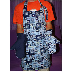 Custom made BBQ Apron set - Set includes apron, one potholder, and one oven mitt. Apron is lined, has front pocket, adjustable neck, and waist ties. Mitt and potholder are quilted, and lined, and have heatproof filling.