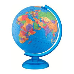 """Replogle Globes - Raised Relief Globe w Plastic Base - This Raised Relief Globe with Plastic Base displays vivid blue oceans and delineates the nations of the world with bright contrasting colors.  The 12"""" diameter globe features a durable blue plastic base and yoke.  Ideal for children aged 3 and up! * 12"""" political globeRaised-relief, blue ocean ball with vivid colorsEasy-to-find geographic locationsDurable plastic baseRecommended for ages 3 and up12L x 13W x 16H12""""Diameter"""