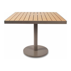 Thos. Baker - cafe 36-inch square table (taupe w/ teak ROM) - Our cafe collection tables feature powder-coated aluminum frames with high-tech recycled outdoor material (ROM) slats. a thos. baker exclusive in the US, ROM is the most natural looking recycled furniture material in the world today with a proprietary finishing process that seals and protects its authentic look.