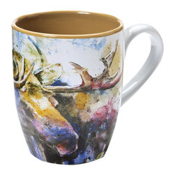 """Moose Mug - A watercolor bull moose portrait by artist Dean Crouser and a grooved base on the stoneware Moose Mug brings outdoor beauty to your morning. Dishwasher and microwave safe. Measures 3 1/2""""W x 3 1/2""""D x 4 1/2""""H; 16 oz."""