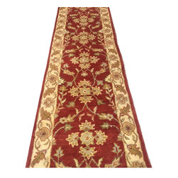 Payless Rugs - Red Traditional Runner - Priced Per Foot - Plush and soft pile wool custom hallway or stair runner. Ends will be surged and finished.