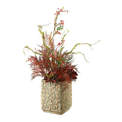 """D&W Silks - Artificial Mixed Ferns and Echeveria in Square Ceramic Planter - It's amazing how much adding a plant can change the look of a room or decor, but it can be difficult if your space is not conducive to growing plants, or if you weren't exactly born with a """"green thumb."""" Invite the beauty of nature into your home without all the upkeep with this maintenance-free, allergy-free arrangement of artificial mixed ferns and echeveria in a square ceramic planter. This is not a living plant."""