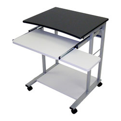 Luxor Furniture - Mobile Computer Workstation - Four 2 in. furniture casters, two with locking brake. Pullout tray and mouse shelf. Light gray steel frame. Made from wood laminate. Pullout tray: 24 in. L x 19 in. W. Overall height: 29 in.. Warranty. Assembly Instructions