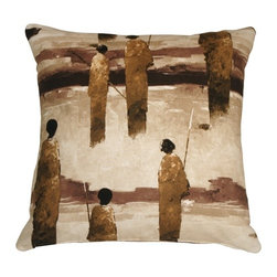Pillow Decor - Pillow Decor - Masai Warrior 22 x 22 Brown Throw Pillow - With bold brush strokes, this artistic throw pillow depicts African Masai warriors standing with spears at the ready. This is a wonderful throw pillow and a perfect addition to any home short on wall space upon which to display fine art.